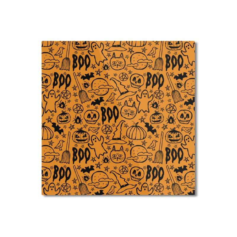 Spooky Halloween Pattern - Orange Home Mounted Aluminum Print by prettyprismatic's Artist Shop