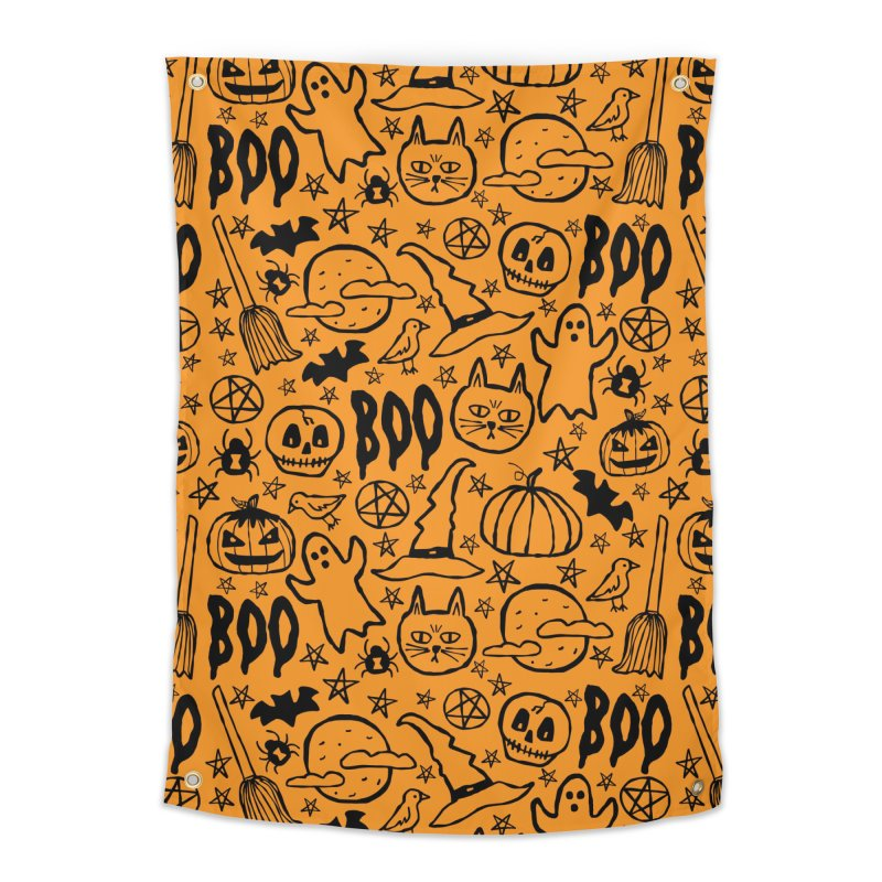 Spooky Halloween Pattern - Orange Home Tapestry by prettyprismatic's Artist Shop