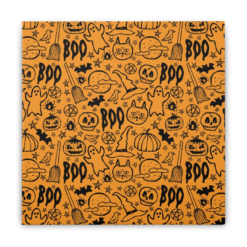 Spooky Halloween Pattern - Orange Home Stretched Canvas by prettyprismatic's Artist Shop