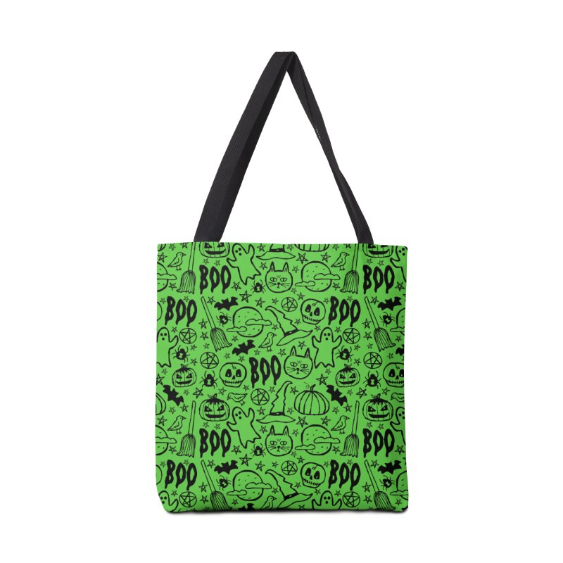 Spooky Halloween Pattern - Lime Green Accessories Bag by prettyprismatic's Artist Shop