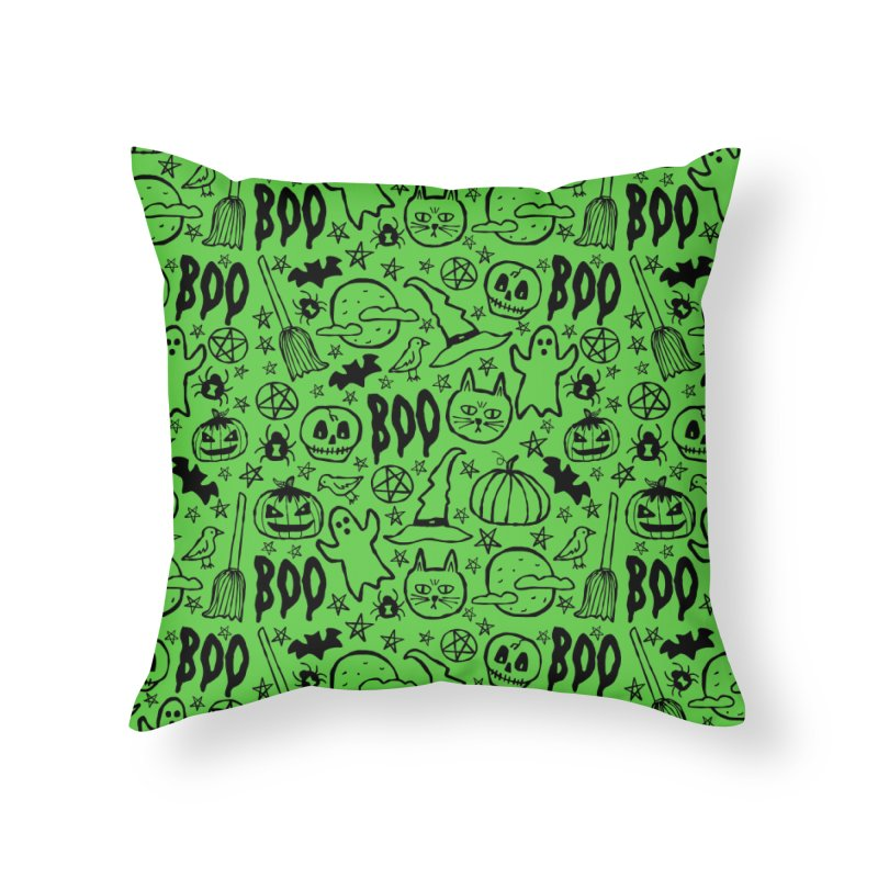 Spooky Halloween Pattern - Lime Green Home Throw Pillow by prettyprismatic's Artist Shop