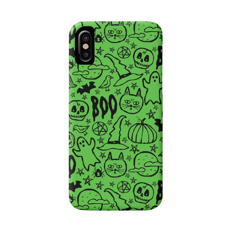 Spooky Halloween Pattern - Lime Green Accessories Phone Case by prettyprismatic's Artist Shop