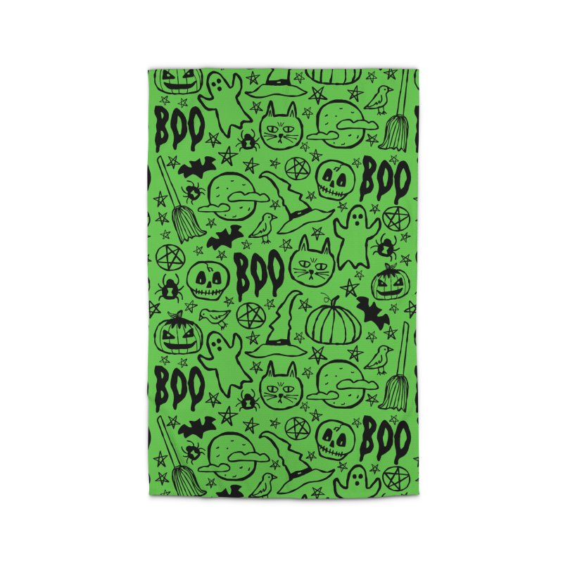 Spooky Halloween Pattern - Lime Green Home Rug by prettyprismatic's Artist Shop