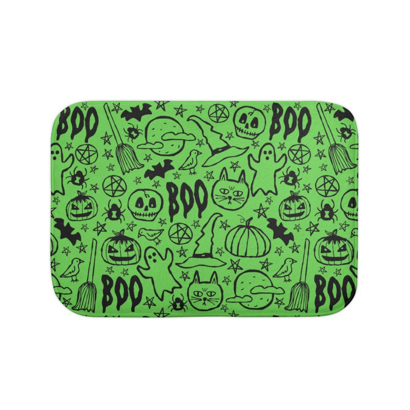 Spooky Halloween Pattern - Lime Green Home Bath Mat by prettyprismatic's Artist Shop