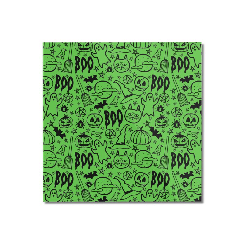 Spooky Halloween Pattern - Lime Green Home Mounted Acrylic Print by prettyprismatic's Artist Shop