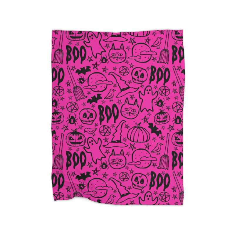 Spooky Halloween Pattern - Hot Pink Home Blanket by prettyprismatic's Artist Shop