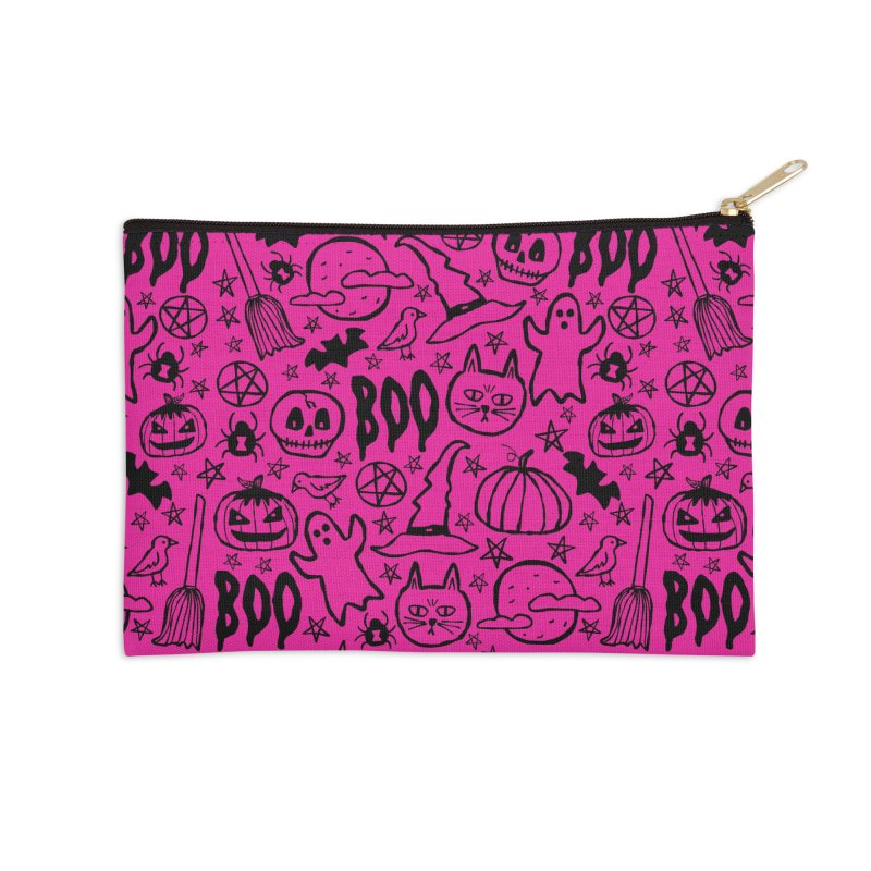 Spooky Halloween Pattern - Hot Pink Accessories Zip Pouch by prettyprismatic's Artist Shop