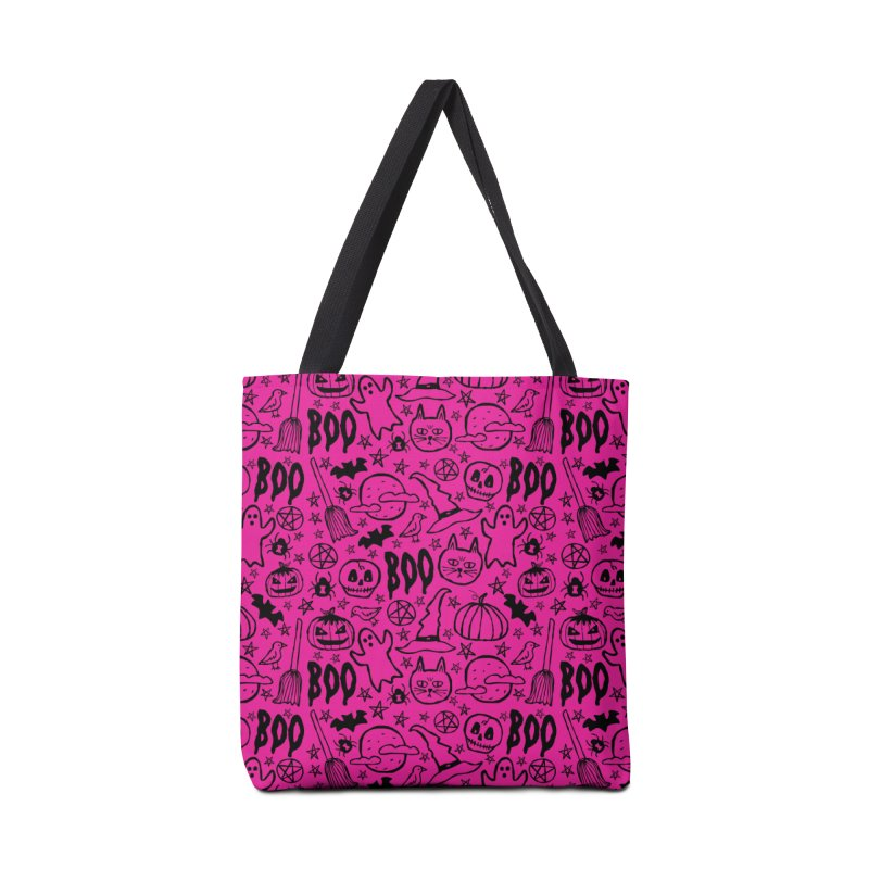 Spooky Halloween Pattern - Hot Pink Accessories Bag by prettyprismatic's Artist Shop
