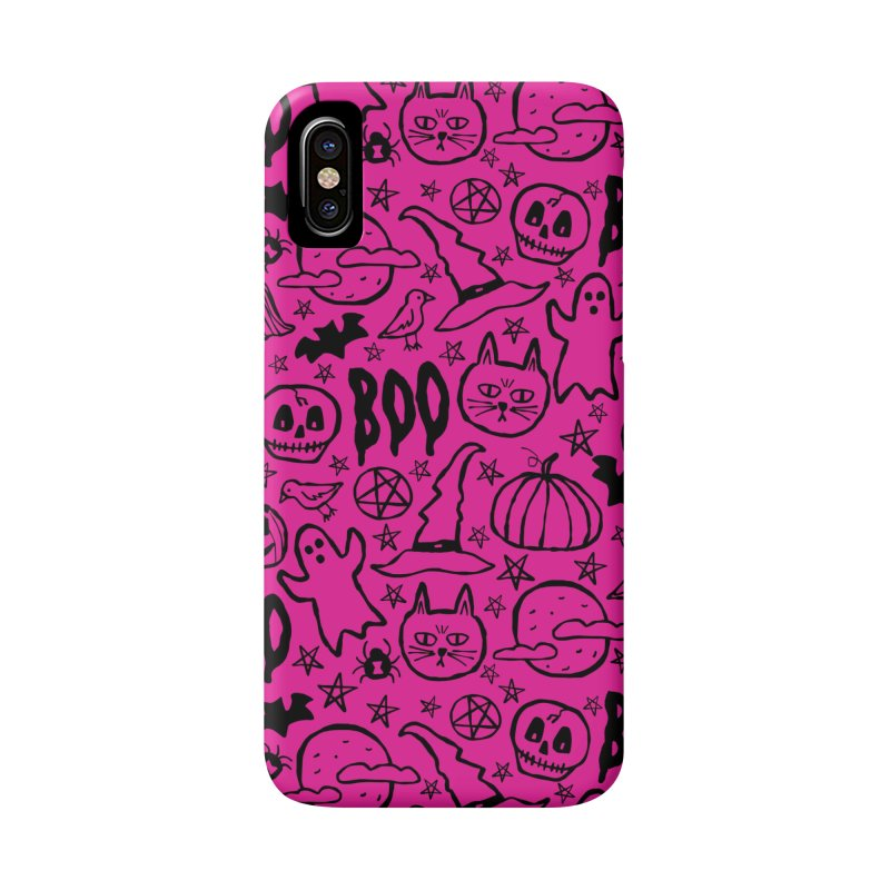 Spooky Halloween Pattern - Hot Pink Accessories Phone Case by prettyprismatic's Artist Shop