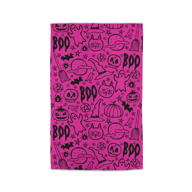 Spooky Halloween Pattern - Hot Pink Home Rug by prettyprismatic's Artist Shop