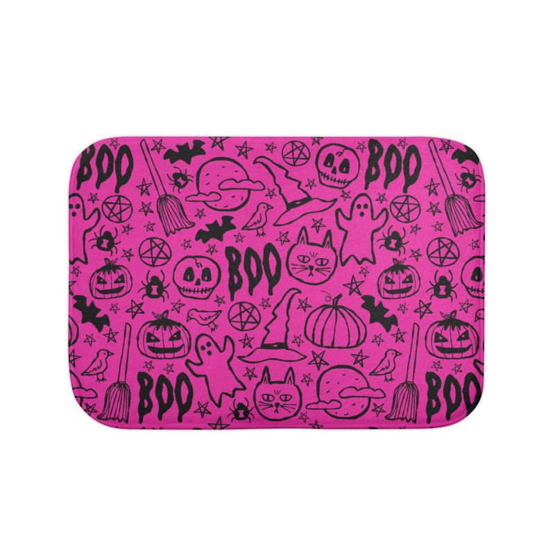 Spooky Halloween Pattern - Hot Pink Home Bath Mat by prettyprismatic's Artist Shop