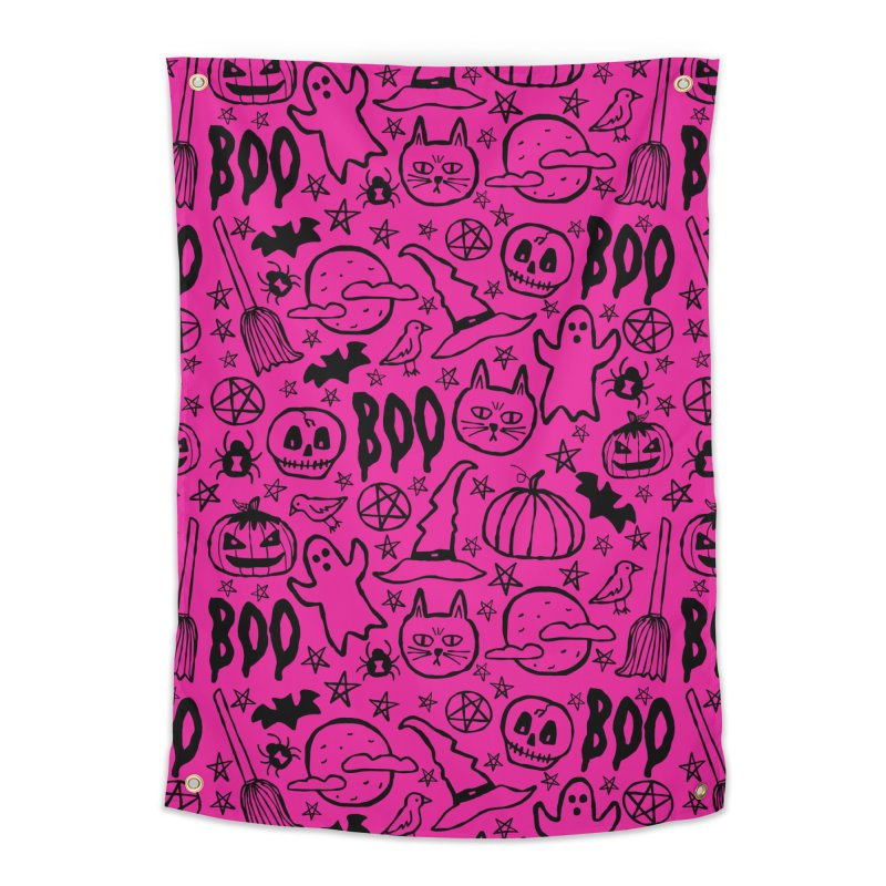 Spooky Halloween Pattern - Hot Pink Home Tapestry by prettyprismatic's Artist Shop