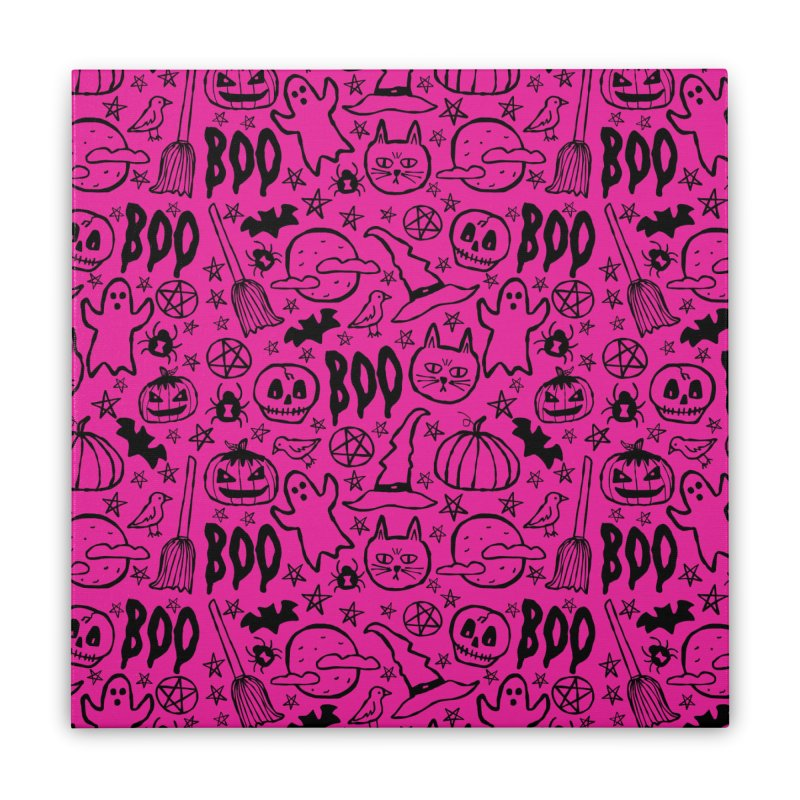 Spooky Halloween Pattern - Hot Pink Home Stretched Canvas by prettyprismatic's Artist Shop