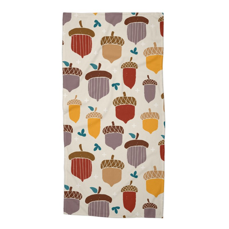 Autumn Acorns Accessories Beach Towel by prettyprismatic's Artist Shop