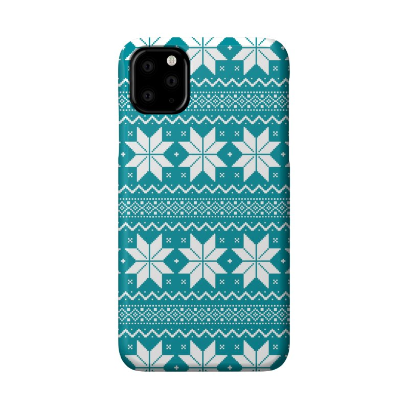 Cross Stitch Snowflakes - Teal Accessories Phone Case by prettyprismatic's Artist Shop