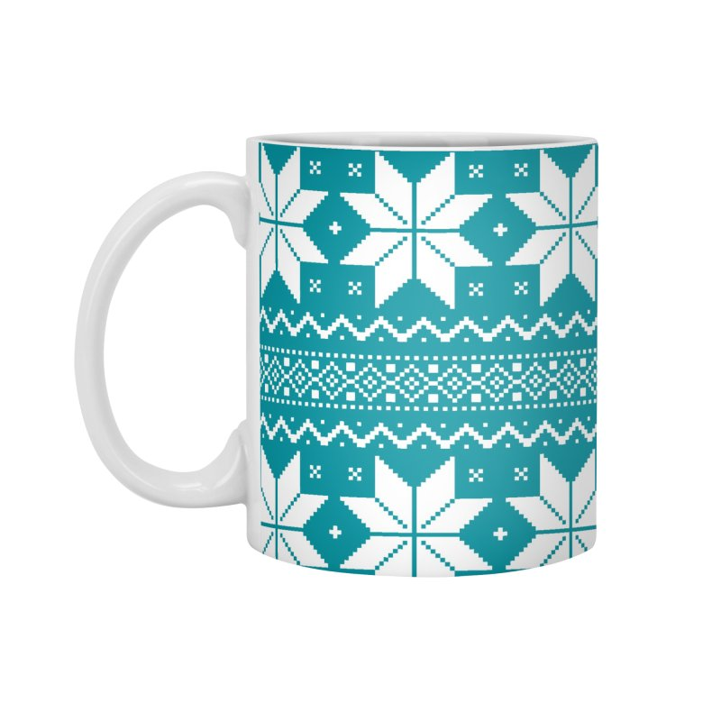 Cross Stitch Snowflakes - Teal Accessories Mug by prettyprismatic's Artist Shop