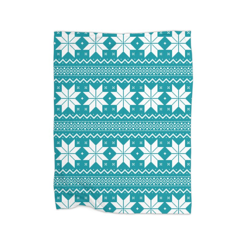 Cross Stitch Snowflakes - Teal Home Blanket by prettyprismatic's Artist Shop