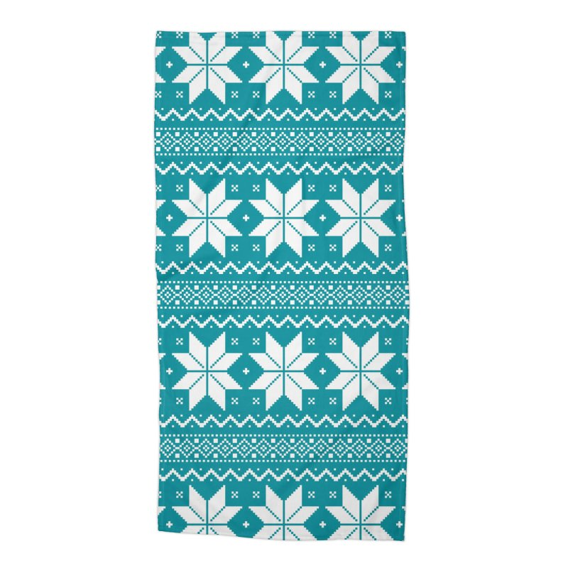 Cross Stitch Snowflakes - Teal Accessories Beach Towel by prettyprismatic's Artist Shop