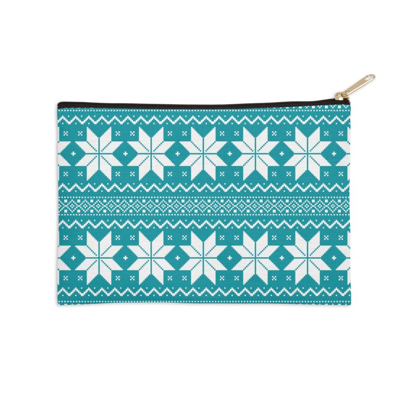 Cross Stitch Snowflakes - Teal Accessories Zip Pouch by prettyprismatic's Artist Shop
