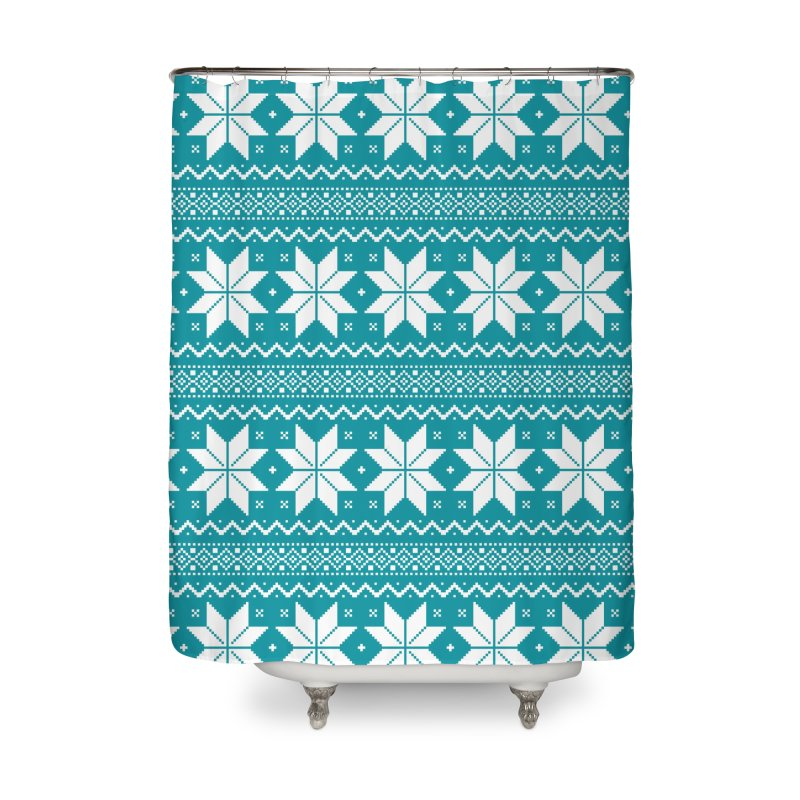 Cross Stitch Snowflakes - Teal Home Shower Curtain by prettyprismatic's Artist Shop