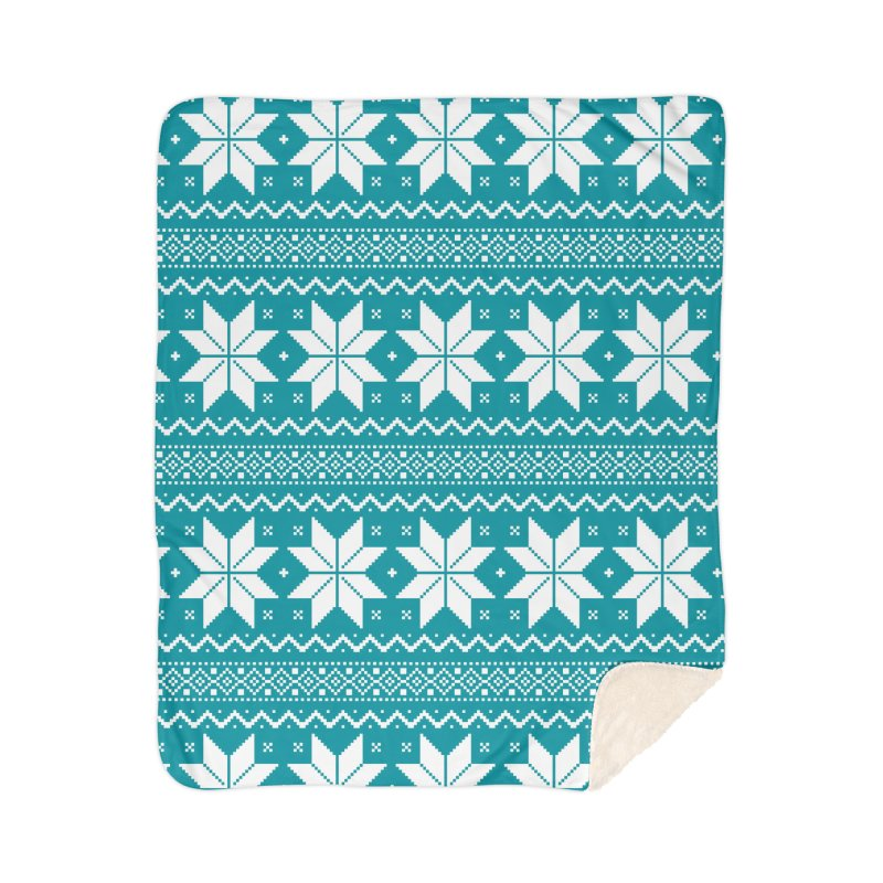 Cross Stitch Snowflakes - Teal Home Sherpa Blanket Blanket by prettyprismatic's Artist Shop