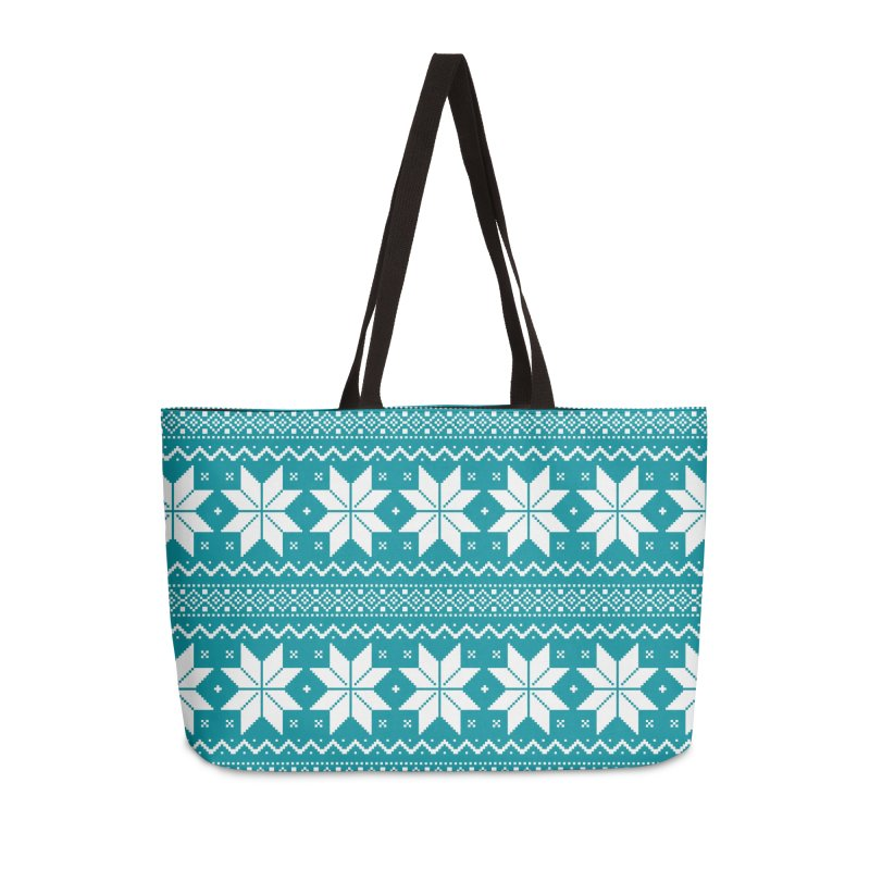 Cross Stitch Snowflakes - Teal Accessories Weekender Bag Bag by prettyprismatic's Artist Shop