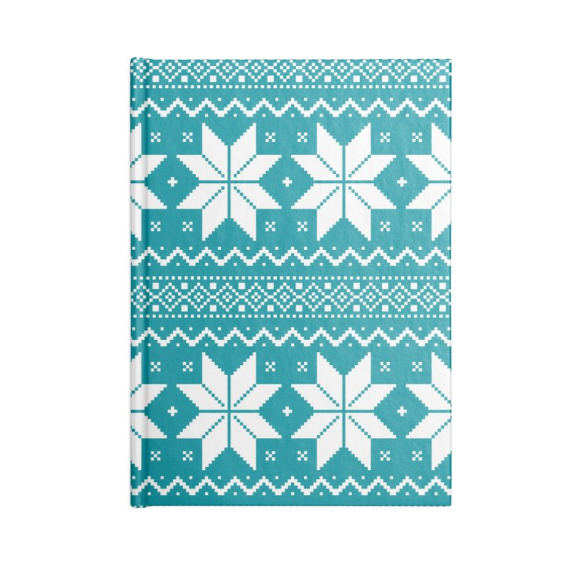 Cross Stitch Snowflakes - Teal Accessories Blank Journal Notebook by prettyprismatic's Artist Shop