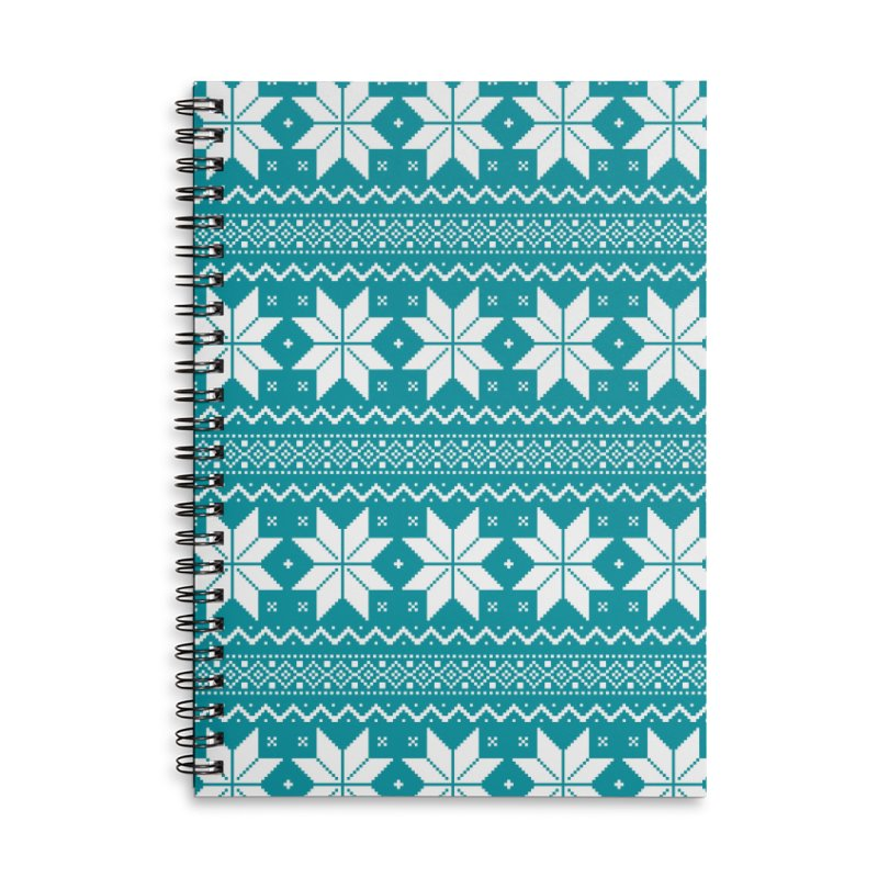 Cross Stitch Snowflakes - Teal Accessories Lined Spiral Notebook by prettyprismatic's Artist Shop