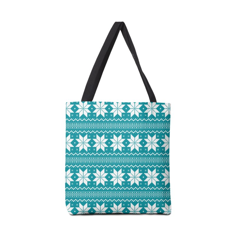 Cross Stitch Snowflakes - Teal Accessories Tote Bag Bag by prettyprismatic's Artist Shop