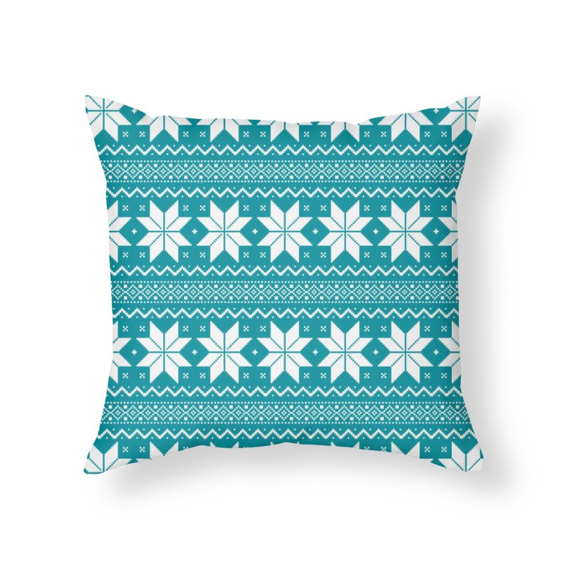Cross Stitch Snowflakes - Teal Home Throw Pillow by prettyprismatic's Artist Shop