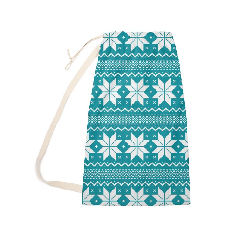 Cross Stitch Snowflakes - Teal Accessories Laundry Bag Bag by prettyprismatic's Artist Shop