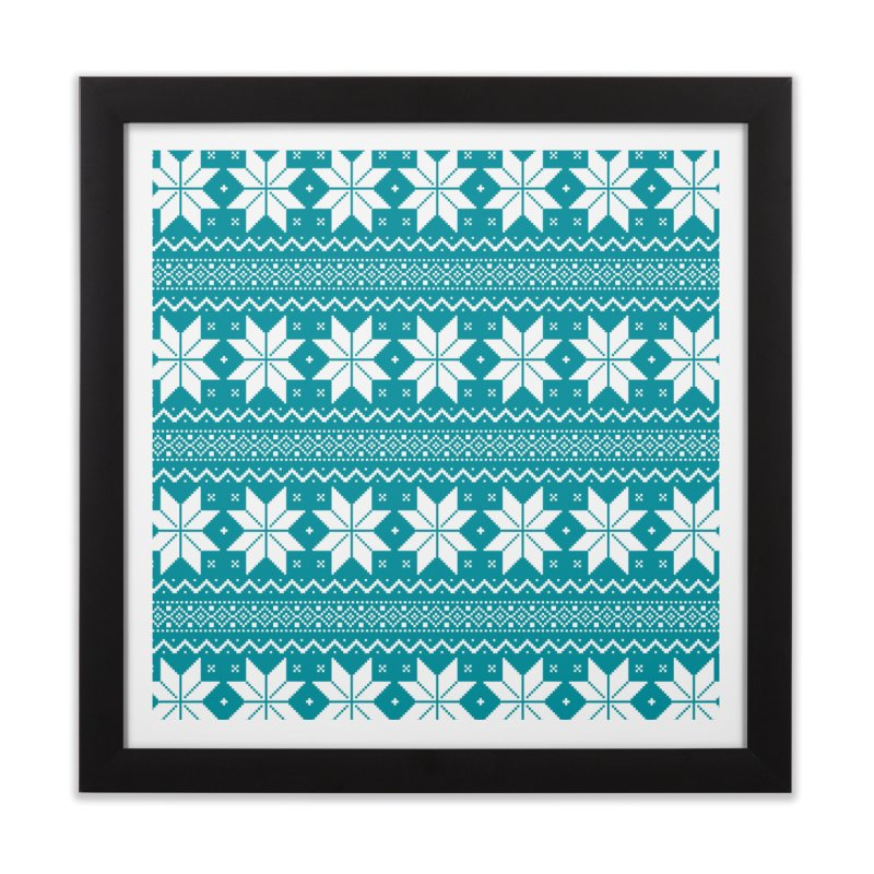 Cross Stitch Snowflakes - Teal Home Framed Fine Art Print by prettyprismatic's Artist Shop