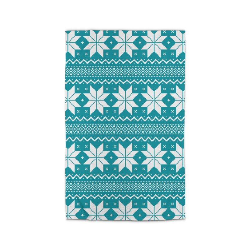 Cross Stitch Snowflakes - Teal Home Rug by prettyprismatic's Artist Shop