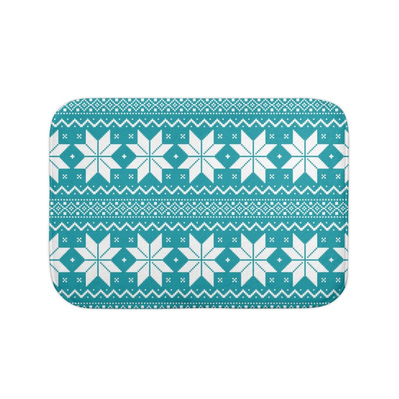 Cross Stitch Snowflakes - Teal Home Bath Mat by prettyprismatic's Artist Shop