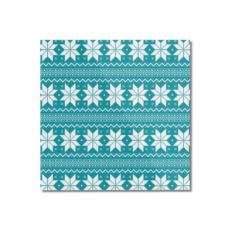 Cross Stitch Snowflakes - Teal Home Mounted Acrylic Print by prettyprismatic's Artist Shop