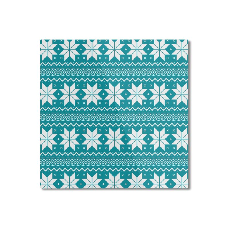 Cross Stitch Snowflakes - Teal Home Mounted Aluminum Print by prettyprismatic's Artist Shop