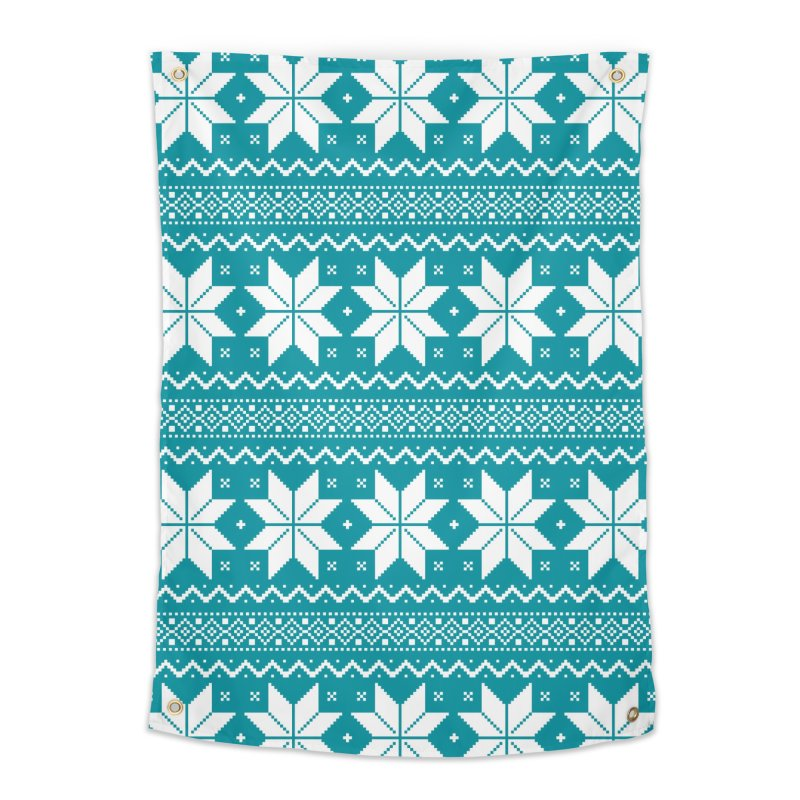 Cross Stitch Snowflakes - Teal Home Tapestry by prettyprismatic's Artist Shop