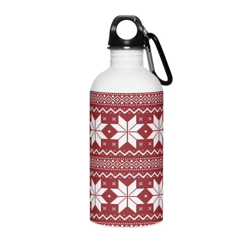 Cross Stitch Snowflakes - Classic Red Accessories Water Bottle by prettyprismatic's Artist Shop
