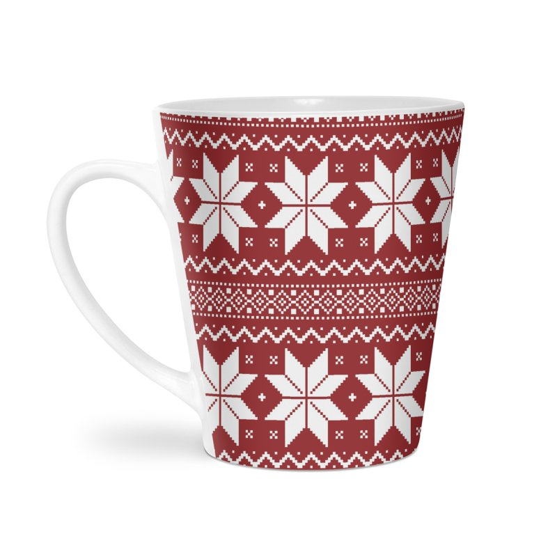 Cross Stitch Snowflakes - Classic Red Accessories Latte Mug by prettyprismatic's Artist Shop