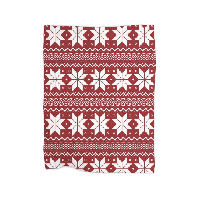 Cross Stitch Snowflakes - Classic Red Home Blanket by prettyprismatic's Artist Shop