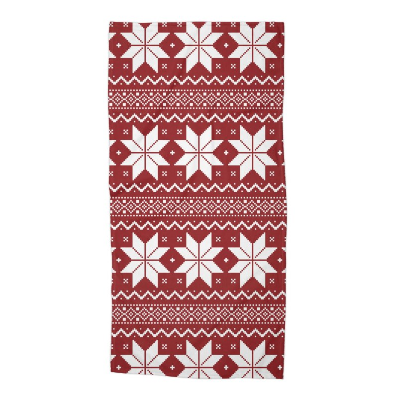 Cross Stitch Snowflakes - Classic Red Accessories Beach Towel by prettyprismatic's Artist Shop