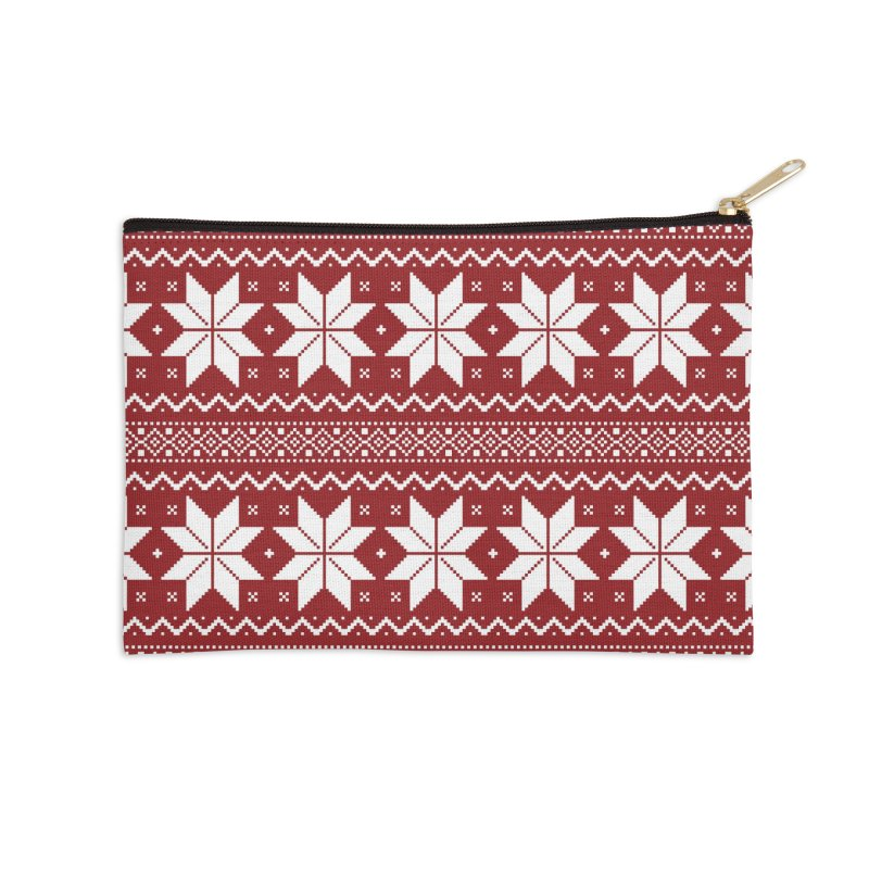 Cross Stitch Snowflakes - Classic Red Accessories Zip Pouch by prettyprismatic's Artist Shop