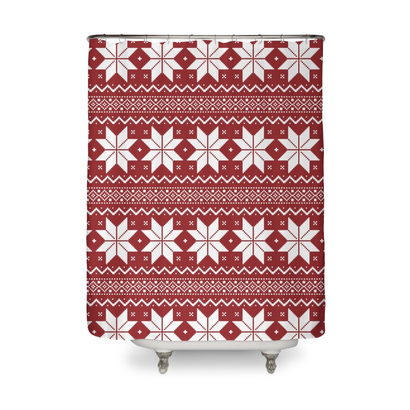 Cross Stitch Snowflakes - Classic Red Home Shower Curtain by prettyprismatic's Artist Shop