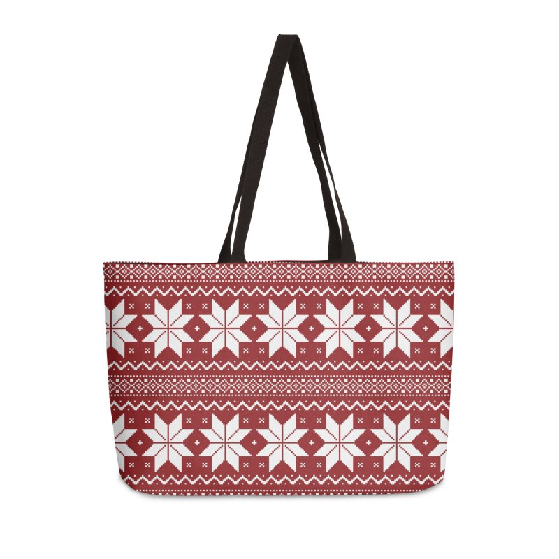 Cross Stitch Snowflakes - Classic Red Accessories Weekender Bag Bag by prettyprismatic's Artist Shop