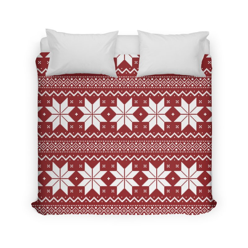Cross Stitch Snowflakes - Classic Red Home Duvet by prettyprismatic's Artist Shop