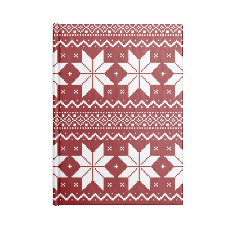 Cross Stitch Snowflakes - Classic Red Accessories Blank Journal Notebook by prettyprismatic's Artist Shop