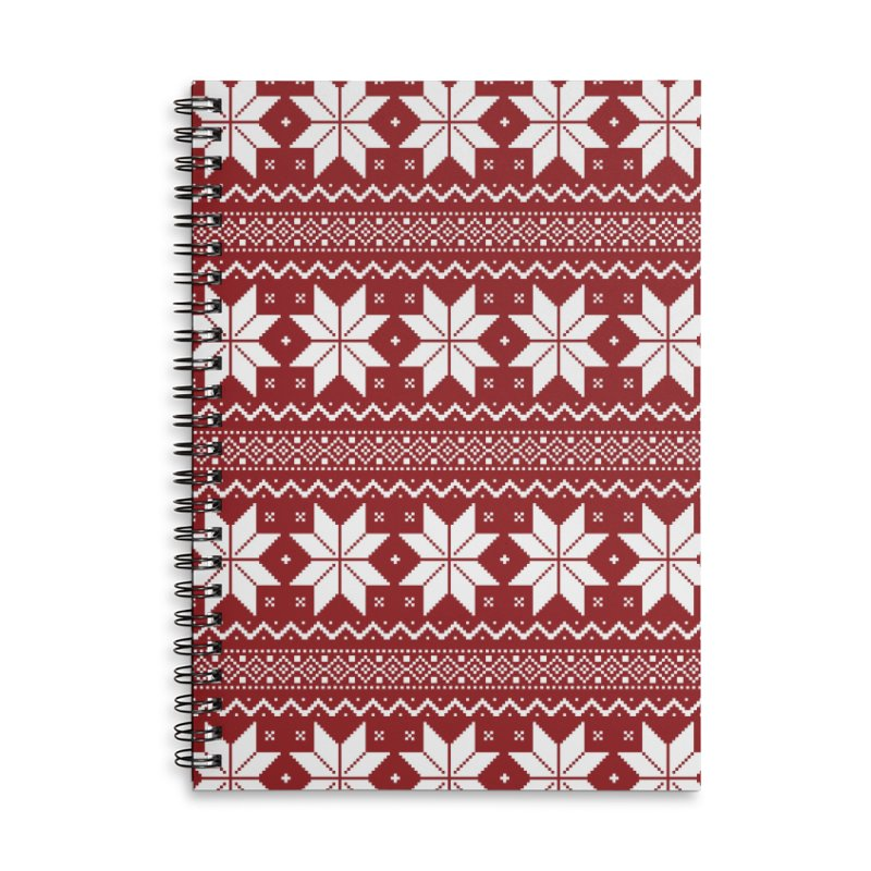 Cross Stitch Snowflakes - Classic Red Accessories Lined Spiral Notebook by prettyprismatic's Artist Shop