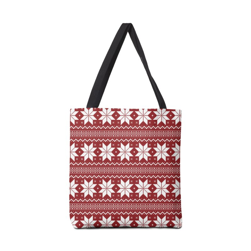Cross Stitch Snowflakes - Classic Red Accessories Tote Bag Bag by prettyprismatic's Artist Shop