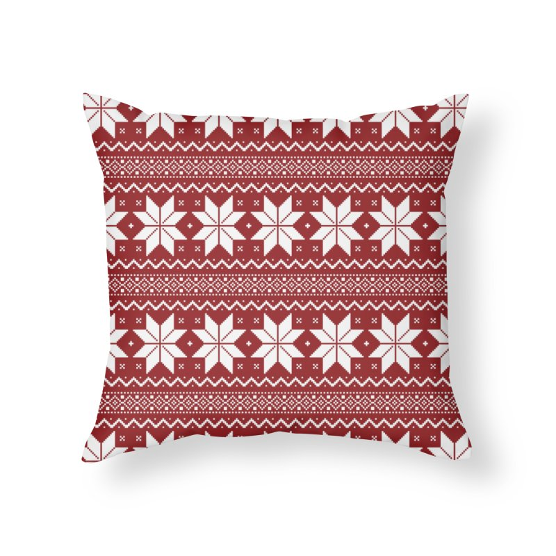 Cross Stitch Snowflakes - Classic Red Home Throw Pillow by prettyprismatic's Artist Shop