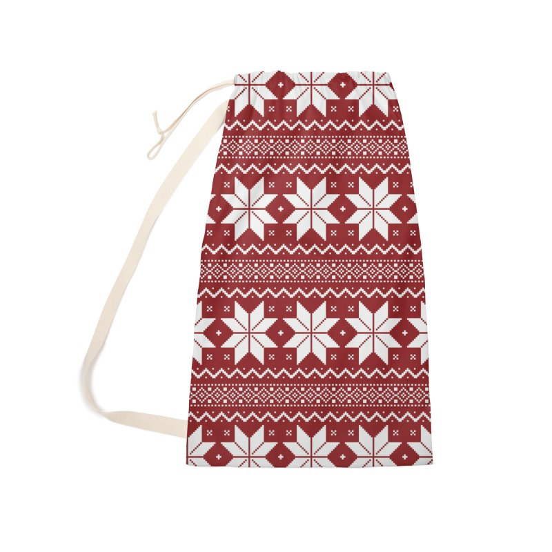 Cross Stitch Snowflakes - Classic Red Accessories Laundry Bag Bag by prettyprismatic's Artist Shop